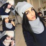Набор шапка и шарф-хомут на флисе разные цвета