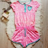 Яркий розовый ромпер комбинезон пижама хлопок с принтом на резинке