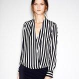 Шифоновая блуза в полоску с рукавами и вырез декольте черная белая полоска на запах Atmosphere
