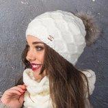 Шикарный качественный набор ,шапка шарф,Италия