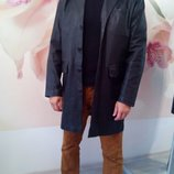Фирменный шикарный кожаный мужской пиджак большого размера. Angelo Litrico. Италия.