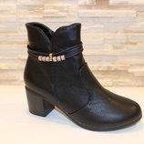 Ботиночки женские черные на небольшом каблуке Д558