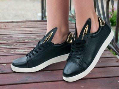 Стильные И Модные Туфли Мокасины Кроссовки Зайки Ушки Черные Турция