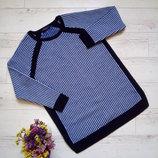 Удлиненный свитер платье туника с шерстью и лампасами р. 48-50