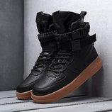 Как оригинал. Бесплатная доставка. Кроссовки Nike Air Force af 1 высокие черные KS 526