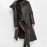 Длинное стеганое пальто на синтепоне