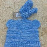 Детский комплект шапочка с ушками и рукавички John Lewis, 3-12 месяца, новые