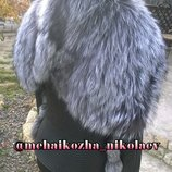 Сногсшибательная куртка из натуральной кожи и натуральным мехом чернобурки