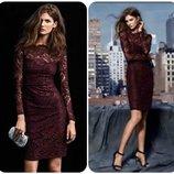 Эффектное кружевное платье футляр для уважающей шикарные наряды девушки цвет марсала Peacocks