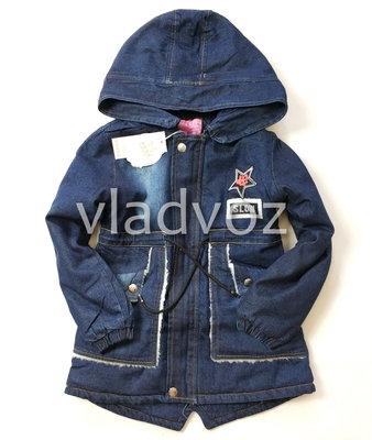 Детская джинсовая парка куртка для мальчика Slow 8-12 лет 3856