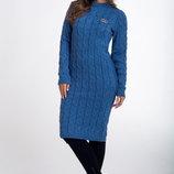 Платье вязаное приталенное теплоеженское, цвета разные