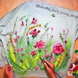 Свитшот платье туника с ручной росписью оверсайз мятный