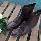 Кожаные полуботинки/ботинки/челси с зауженым носком/коричневые-37р