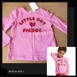 Реглан, кофта, топ h&m нежно розовый с блестящей надписью на маленькую модницу 92см