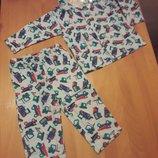 Zeeman теплая пижама фланелевая байка на 74 см 6-9 месяцев Привезена из Нидерландов качество