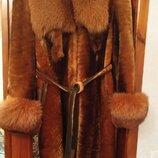 Шуба мутон р.48 с мехом лисы