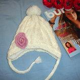 шапка белая теплая на флисе на 2-3-4-5 лет вязаная мягкая девочке детская на завязках шапка на 2-5