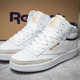 Кроссовки кожаные мужские Reebok Club C 85 Face, белые