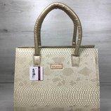 Женская сумка Бочонок золотого цвета со вставкой бежевая рептилия арт.31614 скл.9