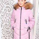 Замечательная удлиненная зимняя куртка с мехом песца для девочек 128-158р