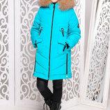 Стильная удлиненная зимняя куртка с мехом песца для девочек 128-158р