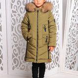 Ультрамодная удлиненная зимняя куртка с мехом песца для девочек 128-158р