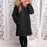Теплая удлиненная зимняя куртка с мехом песца для девочек 128-158р