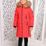 Эффектная удлиненная зимняя куртка с мехом песца для девочек 128-158р