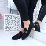 Женские замшевые черные туфли