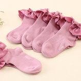 Хлопковые носочки с атласной оборкой, 2-8 лет
