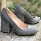 Туфли из натуральной кожи замши на толстом каблуке От производителя Украина