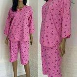 Пижама теплая на баечке, Начес, хлопок, Пижама с бриджами, батал, р.48-50-52-54-56-58-60