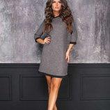 платье трикотаж-букле с отделкой Размеры-С,м,л Ткань-Трикотаж букле французский трикотаж