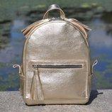 Натуральная кожа Кожаный рюкзак Meri золото