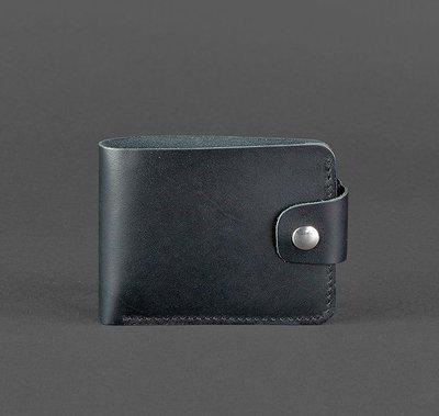 Компактный кожаный кошелек на кнопке черный ручная работа