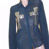 Шикарная чёрная блуза - S
