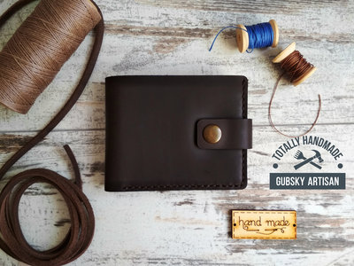 b04f92d12b44 Портмоне 2 отдела для купюр кошелек Мужской кожаный кошелек ручной работы