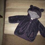 0-3 мес 2-слойная пушистая флисовая пушистенькая курточка, капюшон с ушкамт