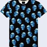 Мужская футболка 3D Blue skulls Большой выбор