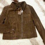 Шикарная куртка,косуха натуральный замш размер 18/l-xl Next