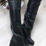Зимние сапоги на меху из натуральной кожи, на каблуке, ks-4096