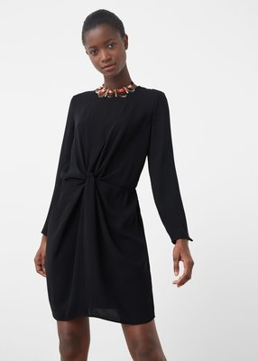 Новое черное миди платье Mango с драпировкой