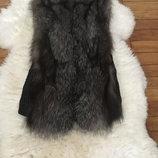 Новый жилет, жилетка из натурального меха чернобурки, лисы.