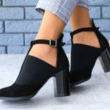 Туфли, натуральная замша, с ремешком, закрытые