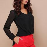 Блуза Айлин Д/р черная блузка с кружевом Цвет черный скл.2