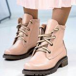 Ботинки, натуральная кожа, со шнуровкой, деми и зима, пудра