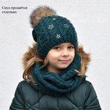 Зимняя Шапка на Флисе для Девочек и Подростков Канди с Песцовым Помпоном Ог 54-57 от 7 лет