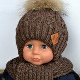 Зимняя Шапка на Флисе с Натуральным Мехом Енота для Мальчика р.50, 54 от 2 лет