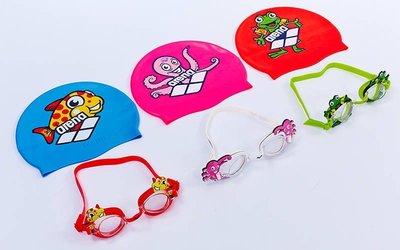 Набор для плавания детский очки шапочка Arena 92295-20 поликарбонат, TPR, силикон 3 цвета