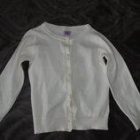 белая кофта девочке F&F на 3-4 года рост 98-104 Англия хлопок в идеале